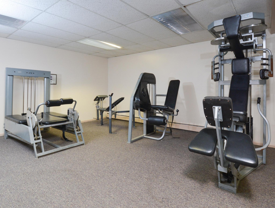 Gym equipment inside the Bishop Hill Apartments fitness center in Secane, PA