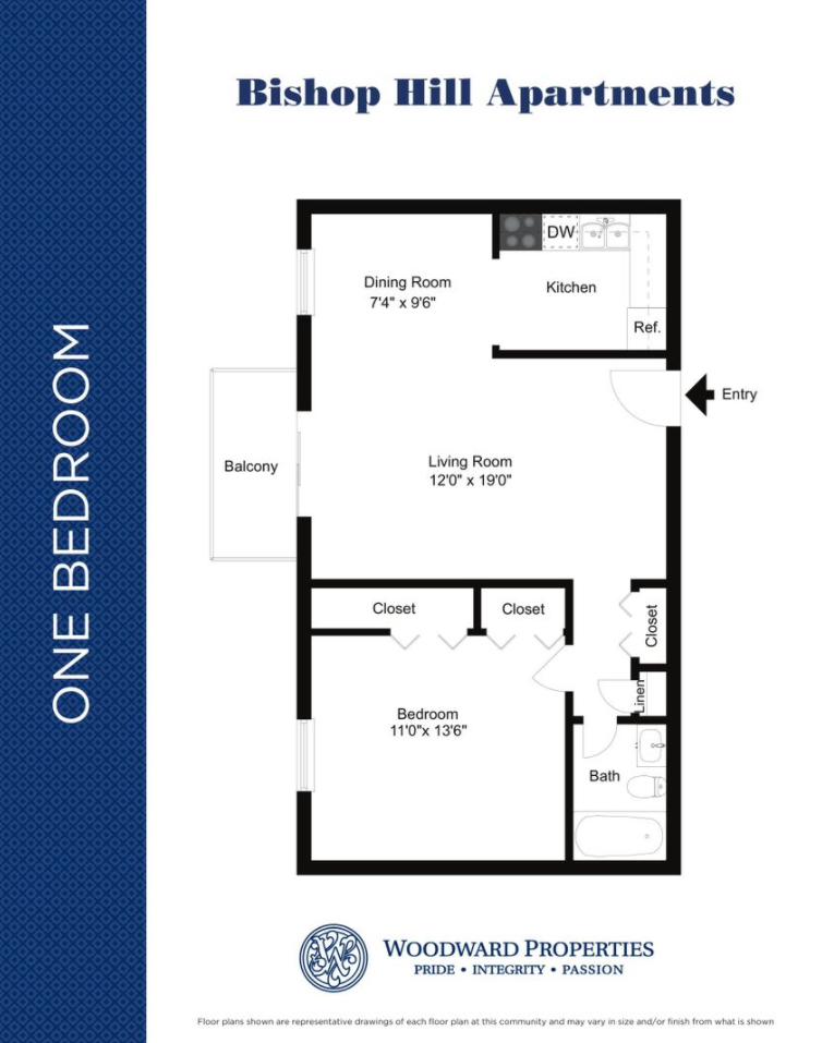 Bishop Hill one bedroom and one bathroom floor plan with 640 square feet in Secane, PA apartments