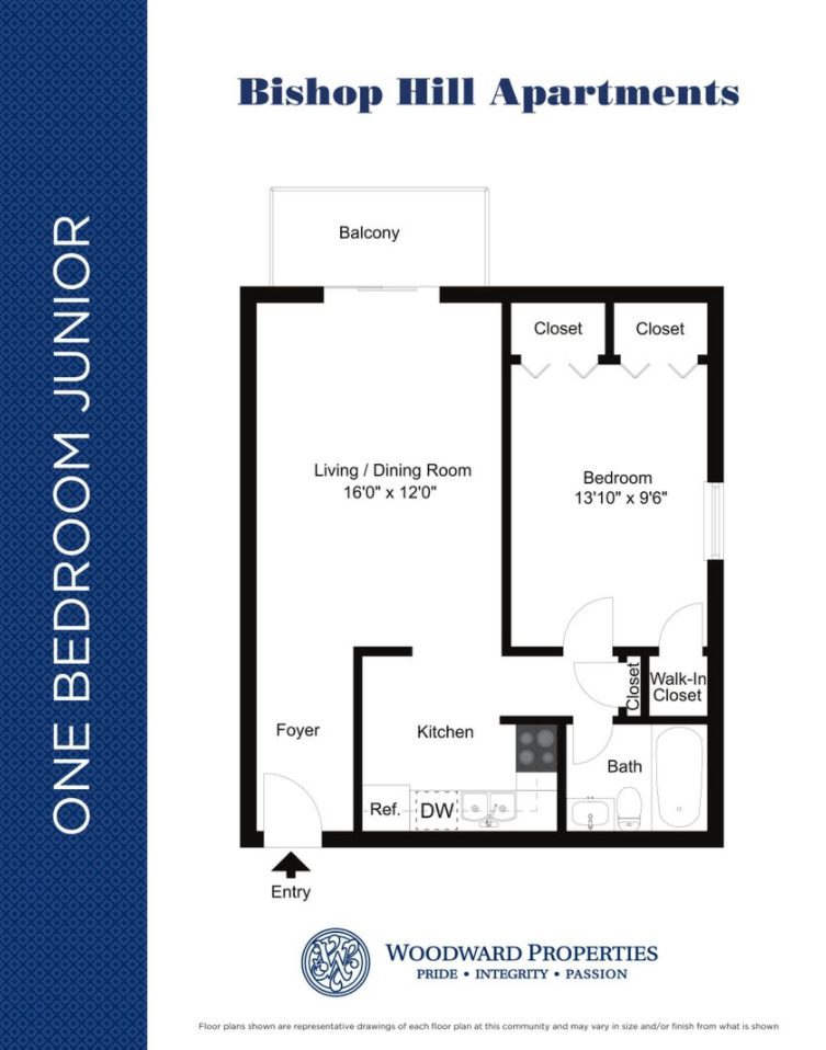 Bishop Hill junior one bedroom and one bathroom floor plan with 550 square feet in Secane, PA apartments